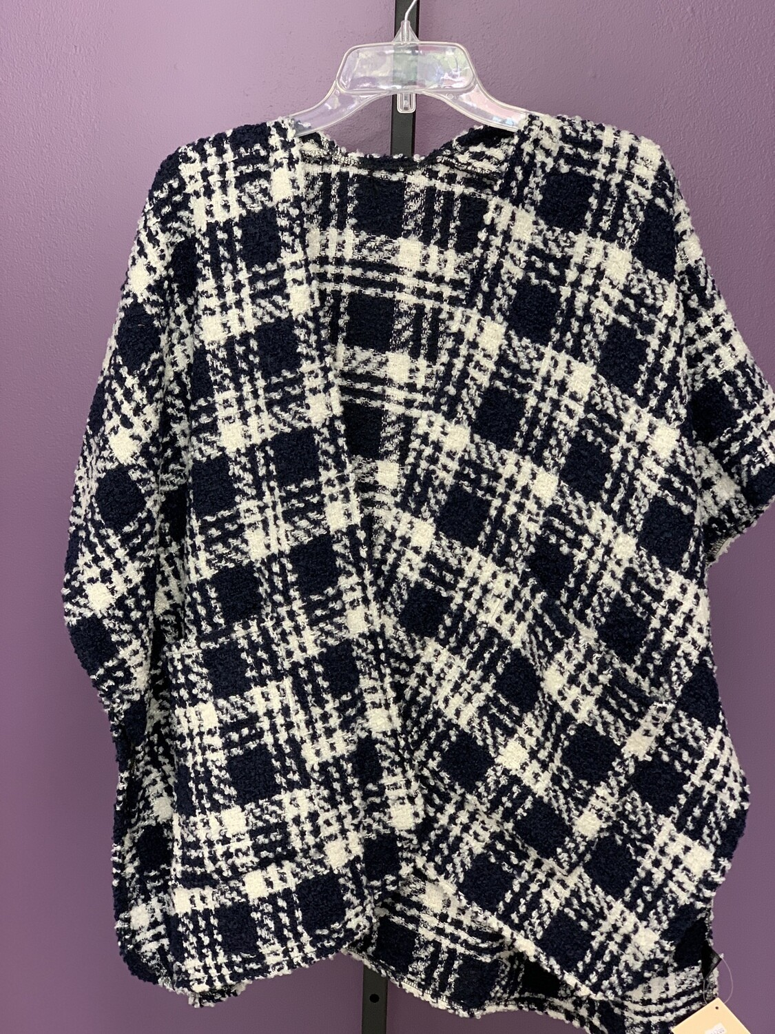 Navy Blue Plaid Tweed Cape/Wrap With Pocket Detail