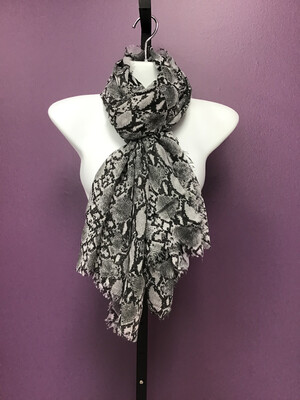 Light Weight Animal Print Scarf With Raw Edges