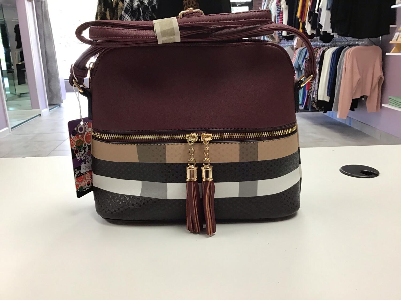 Two Toned/Plaid Crossbody Bag