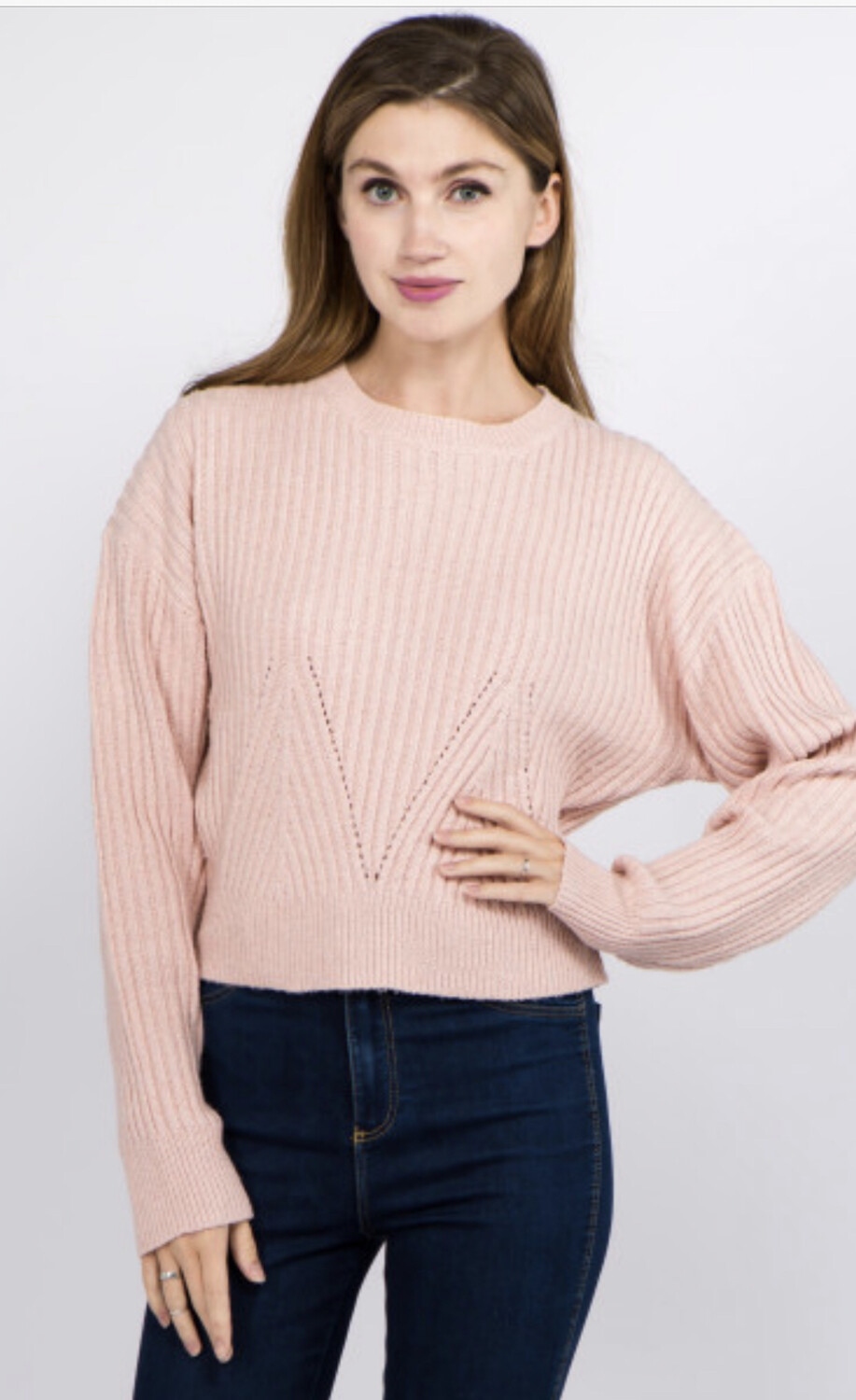 Solid Color Heather Knitted Crop Sweater