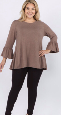 Solid Color Bell Sleeve Tunic Top