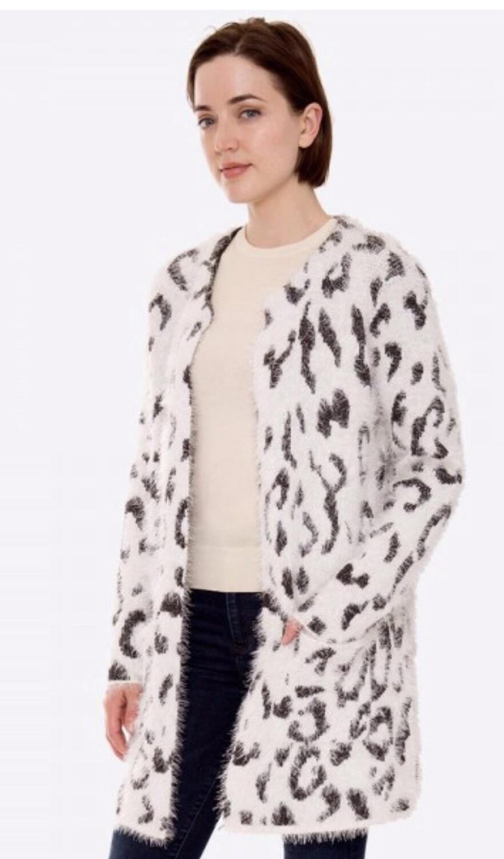 Fuzzy Leopard Cardigan With Pocket Details