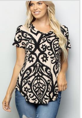 Black And Tan Scroll Shirt