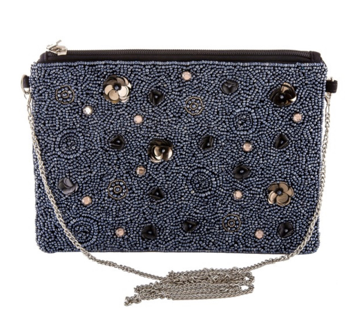 High Quality Hematite Seed Beaded Handbags/ Sequin Flowers & Rhinestones