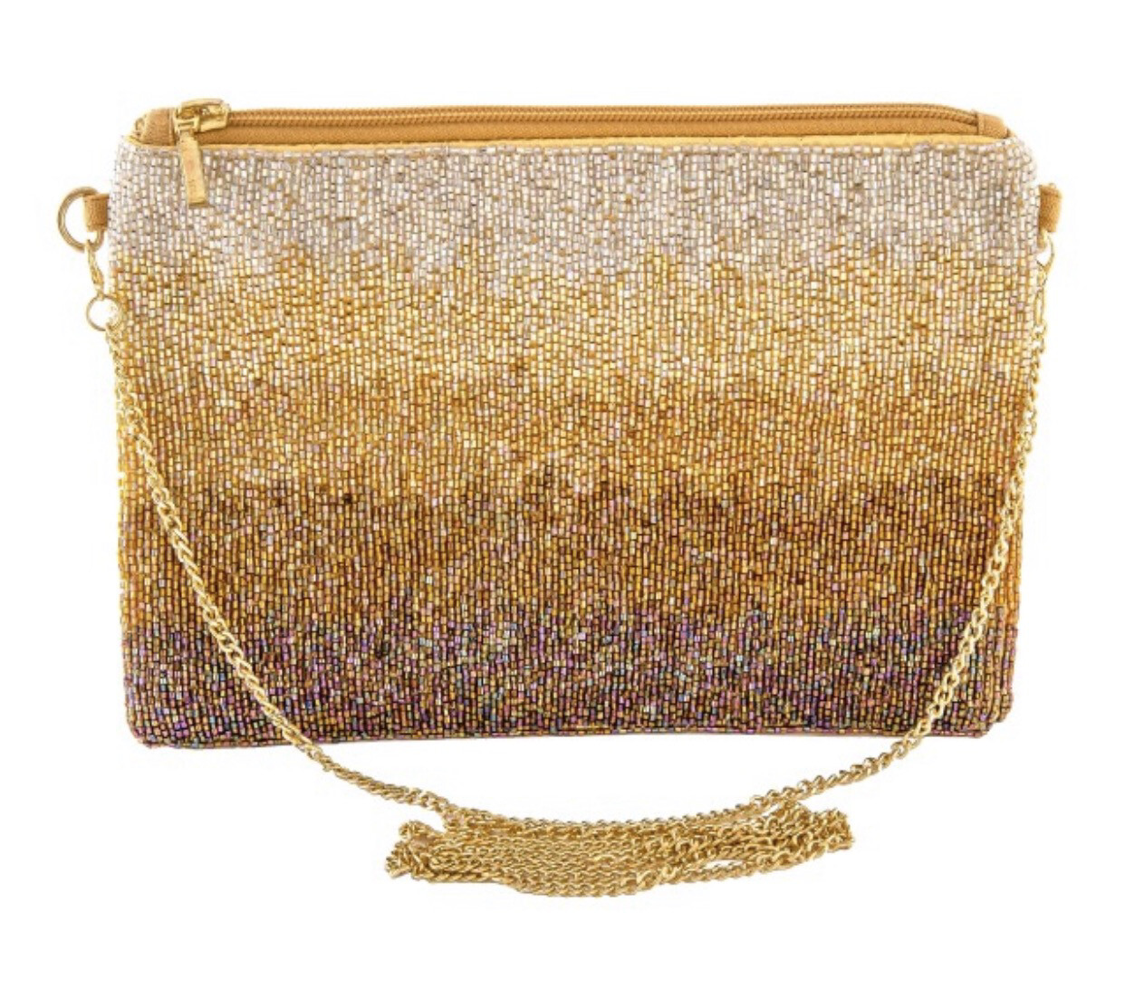 High Quality Seed Beaded Golden Ombré Handbag