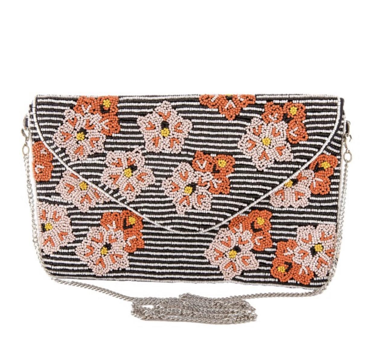 High Quality Black And White Pinstripe Seed Beaded Flower Print Handbag