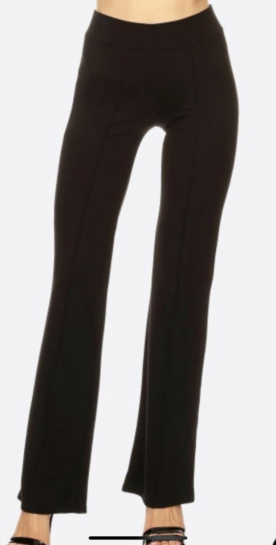 Front Seam Black Flare Pants