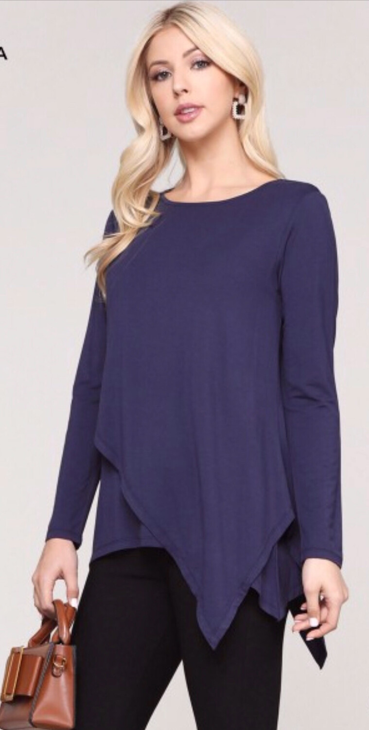 Navy Asymmetrical Hem Tunic Top