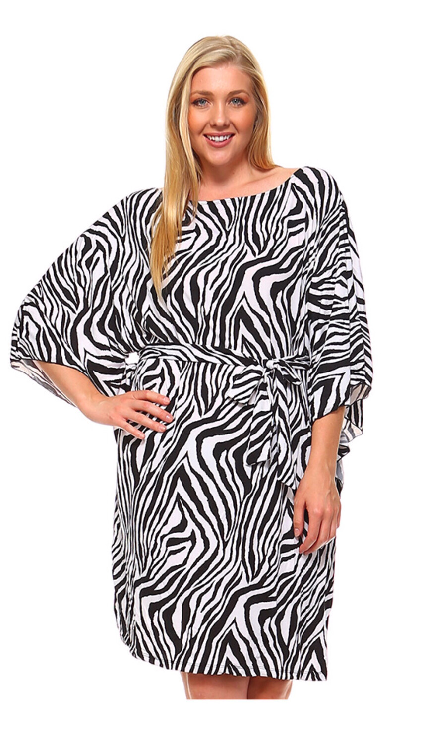 Zebra Plus Dress W/ Tie