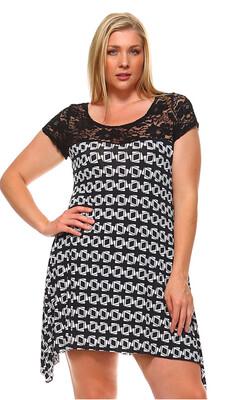 Lace & Patterned Plus Dress