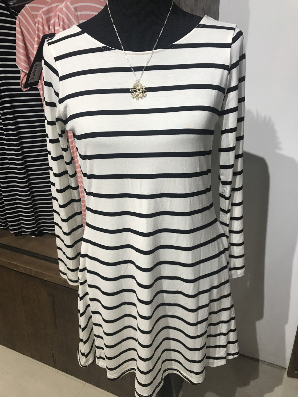 Long Sleeve Striped Dress With V-Back