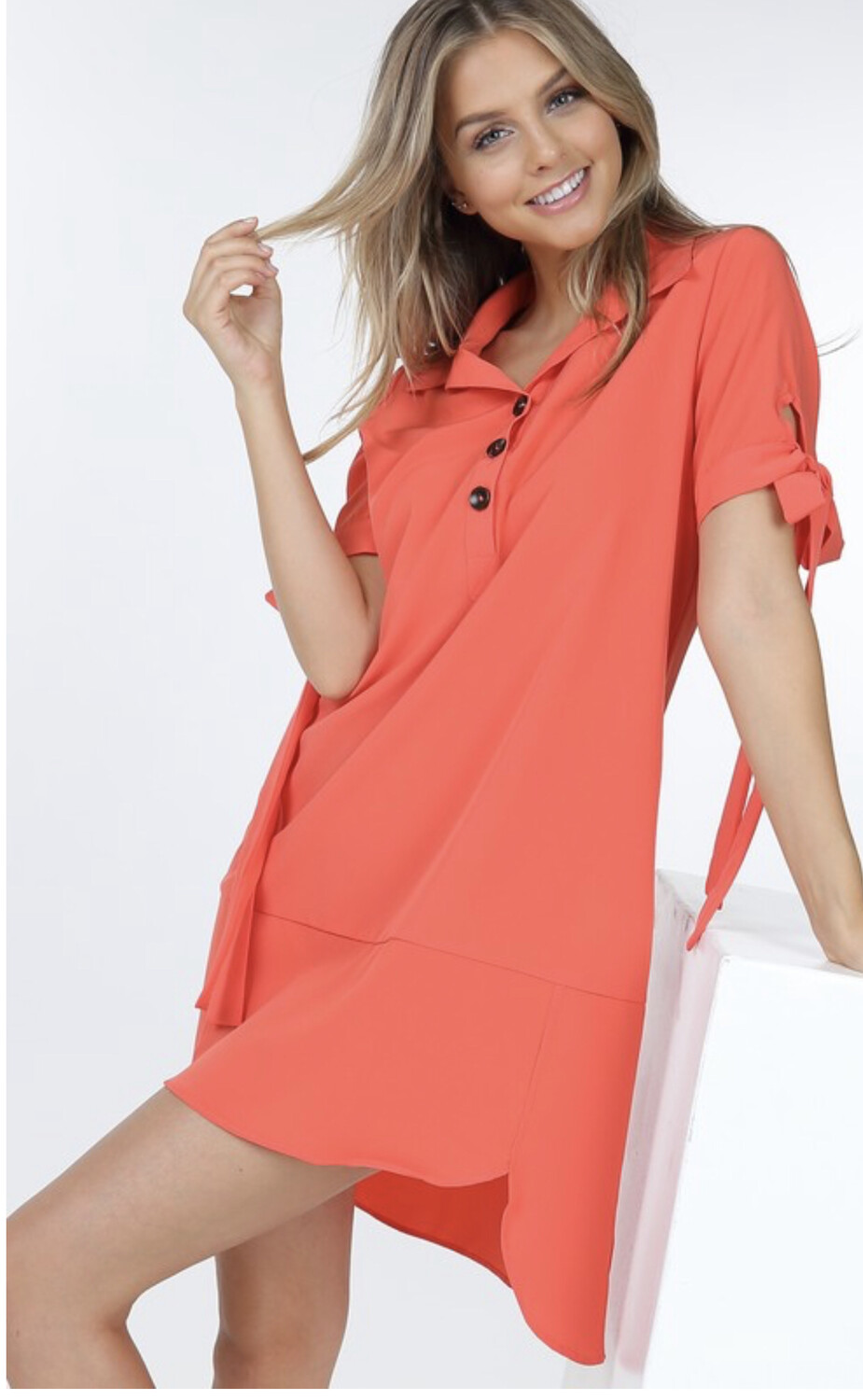 Coral/Smokey Shirt Dress