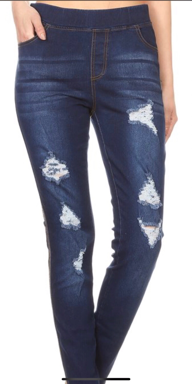 Dark Blue Distressed Jeans
