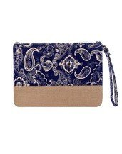 Paisley Print with Natural Burlap Clutch Bag HANDBAGS - WALLET