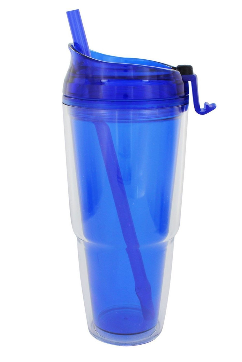 BLUE 22 OZ. DOUBLE WALL TRAVEL TUMBLER WITH STRAW