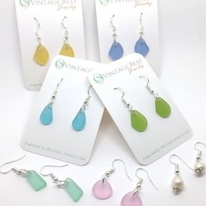 Sea Glass Earrings -  Freshwater Pearl