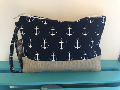 Anchor Print with Natural Burlap Clutch Bag HANDBAGS - WALLET