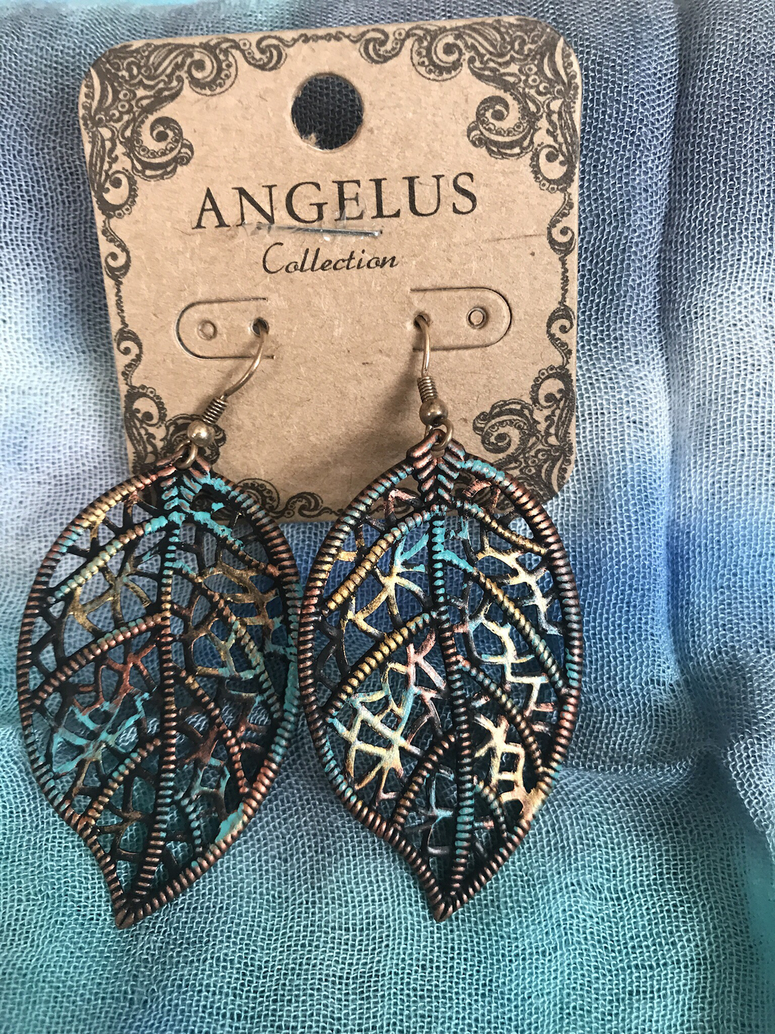 Pierced Patina Leaf Drop Earrings
