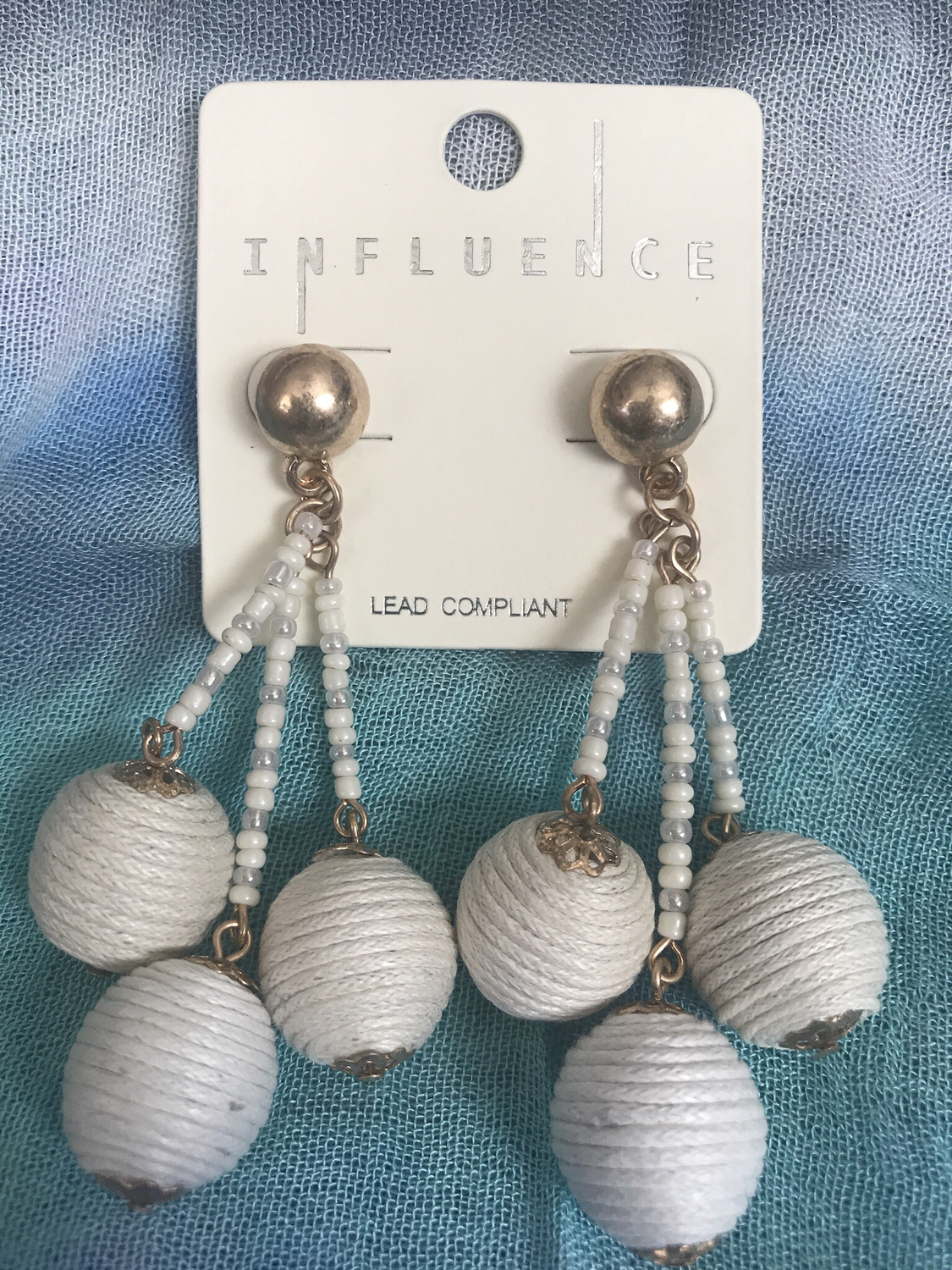 Thread Wrapped Ball Cluster Earrings