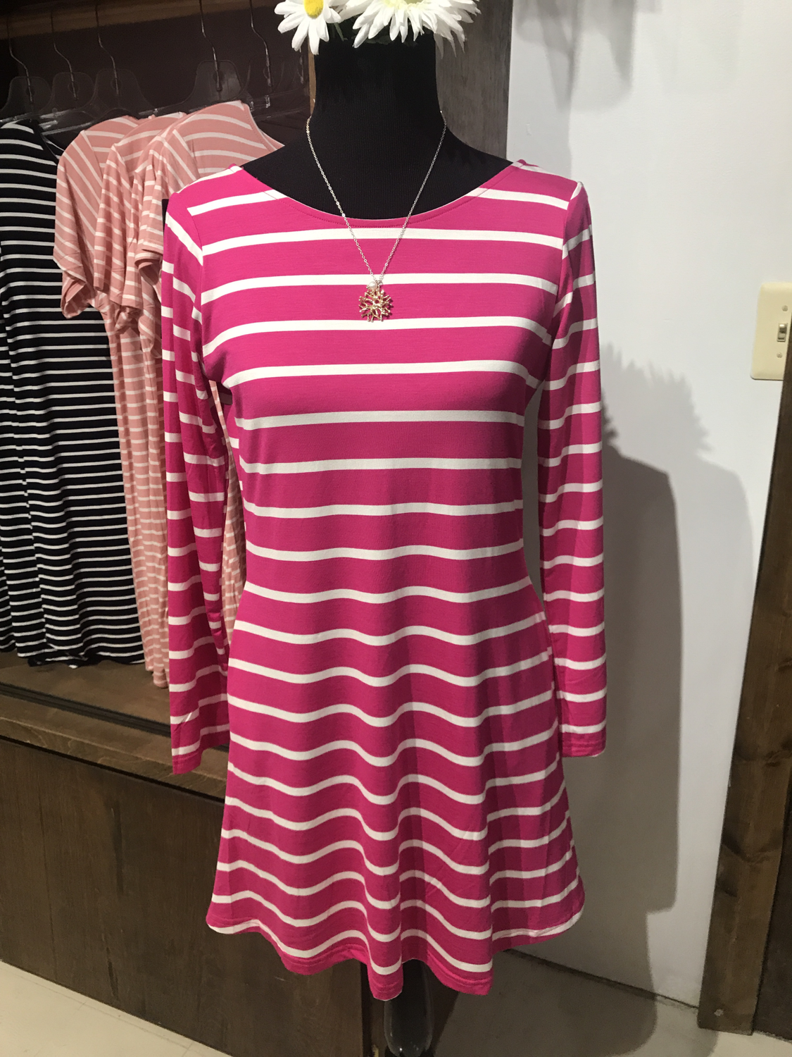Long sleeve Stripe Dress With V-Drop