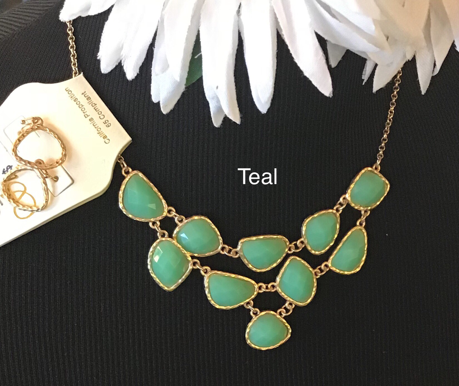 Small Round Gemstone Necklace & Hoop Earring Set