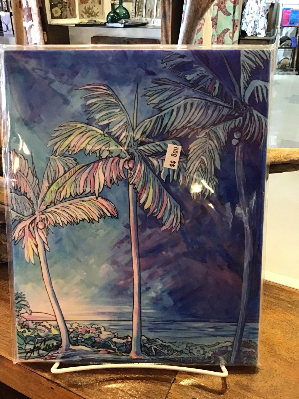 Blue palm tile