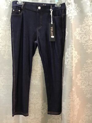 Cropped jean leggings denim with yellow stitching