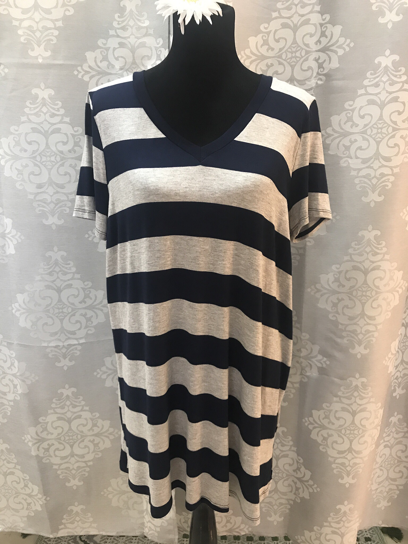 Grey/Navy striped tunic shirt
