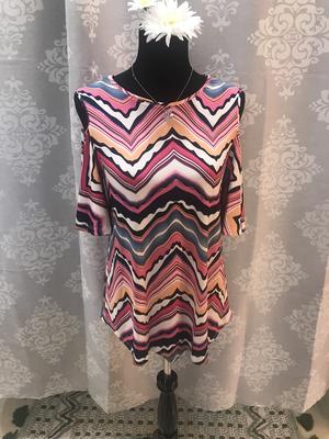 Pink striped cold shoulder