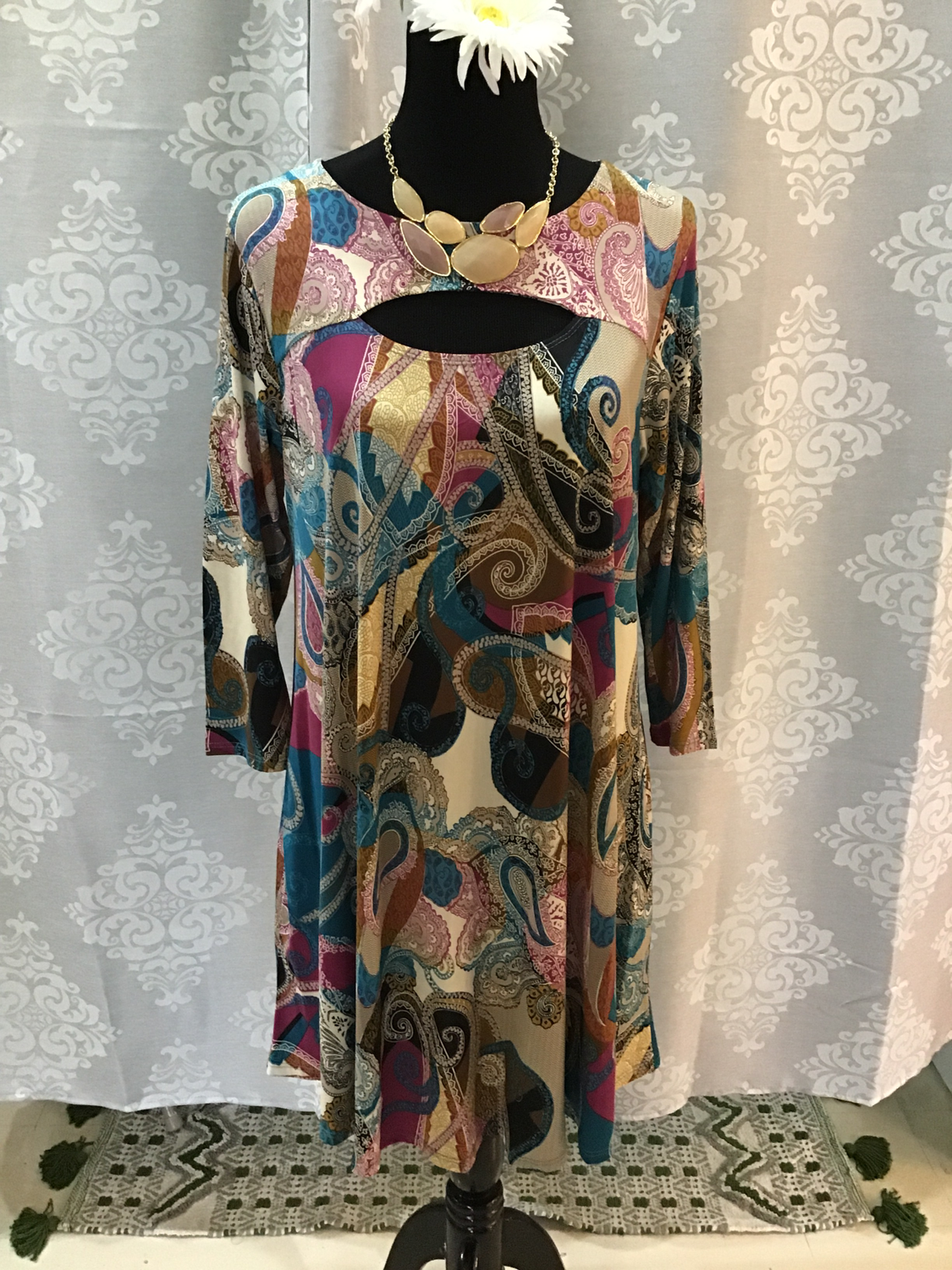 multi colored swing dress plus size