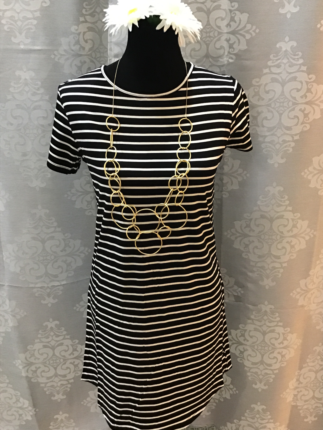 Black with white striped T-shirt dress