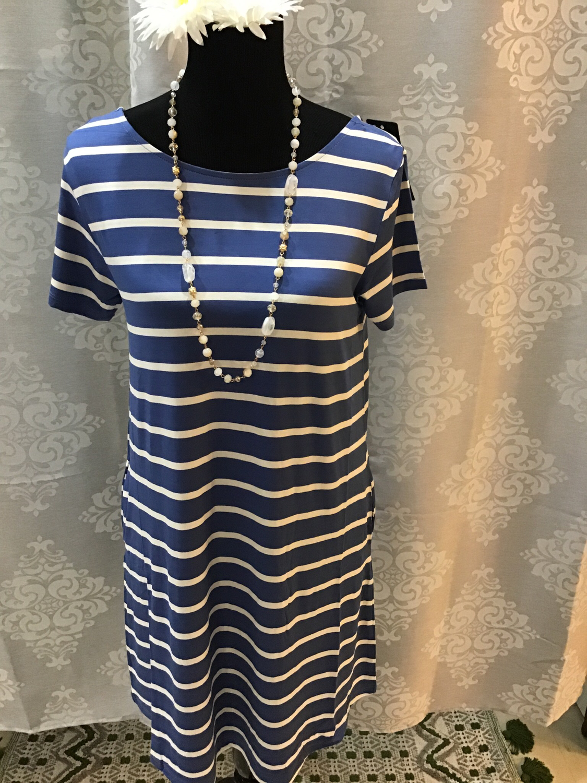 blue and white striped v-neck T-shirt dress