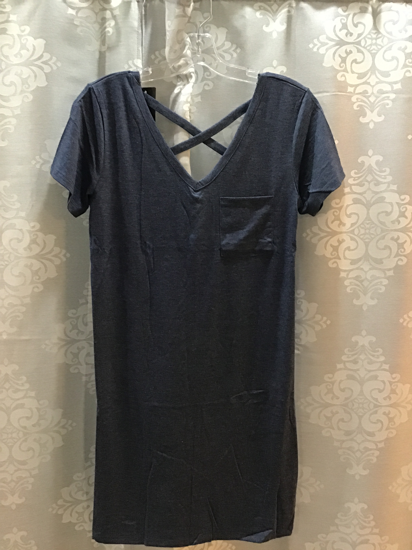 Blue crisscross t shirt dress