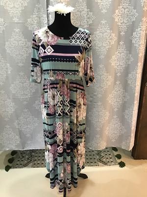 Sage and Pink maxi dress