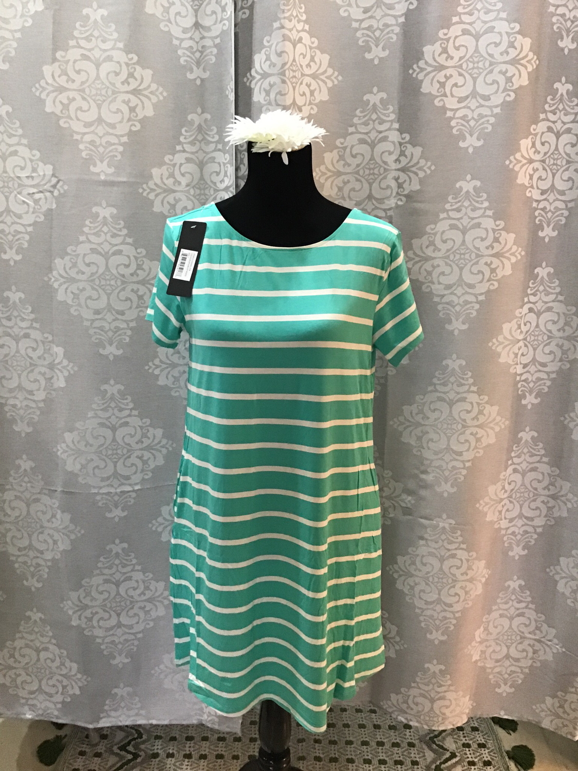 Mint/sea foam and white striped v-neck T-shirt dress criss cross back
