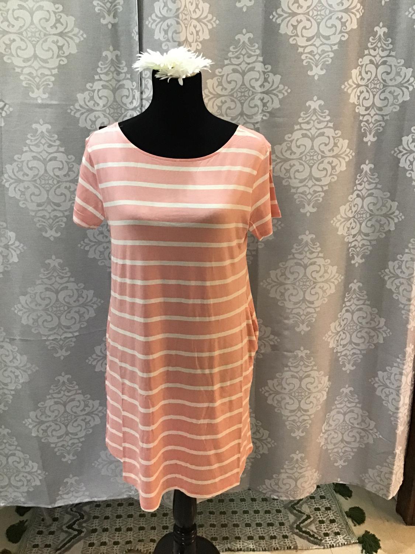 Pink and white striped v-neck T-shirt dress criss cross back