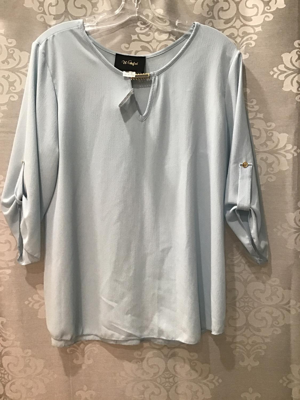 Blue 3/4 sleeve blouse