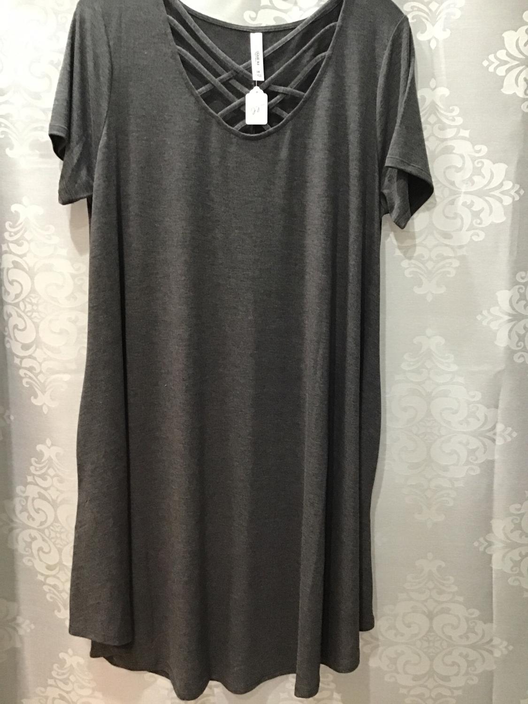 Heather gray crisscross swing dress