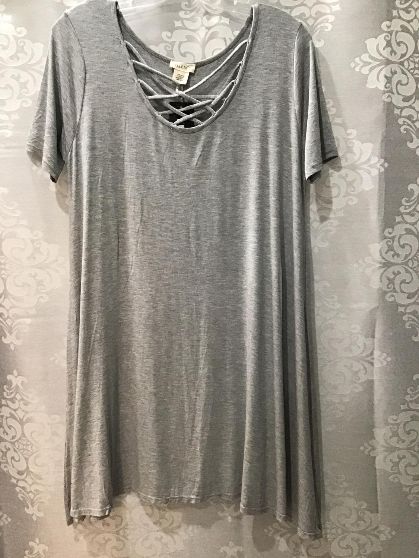 Gray crisscross T-shirt dress