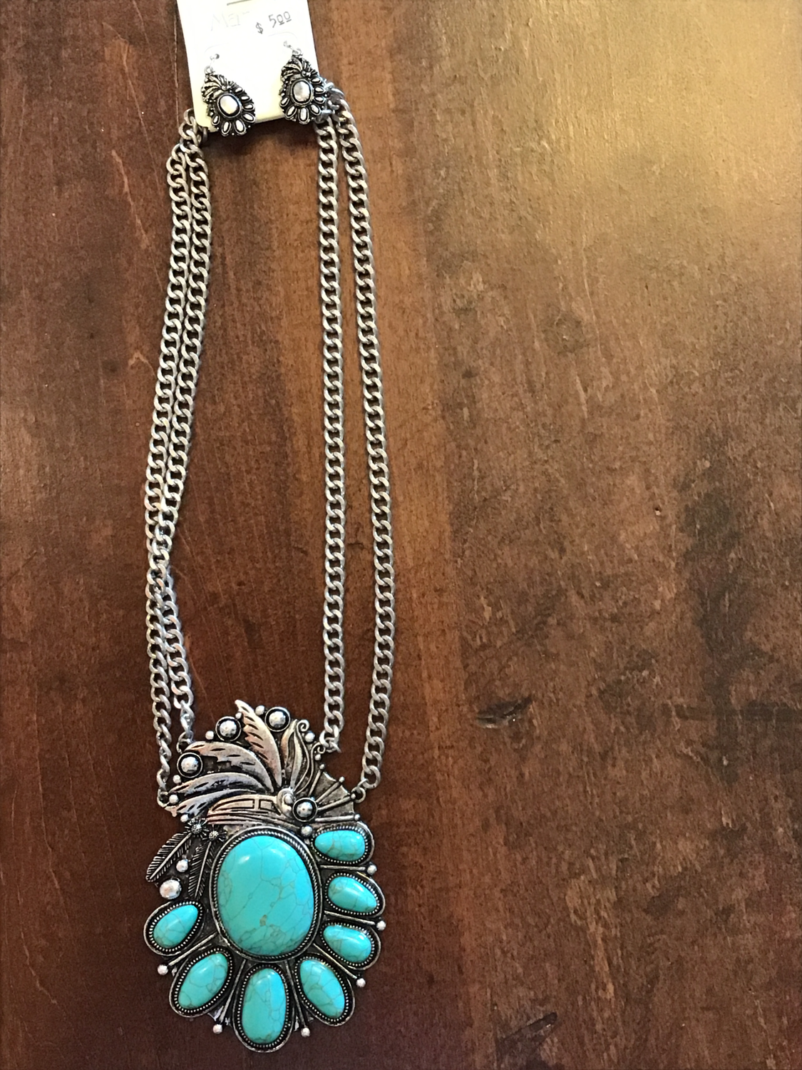 Faux Turquoise pendant and earring set