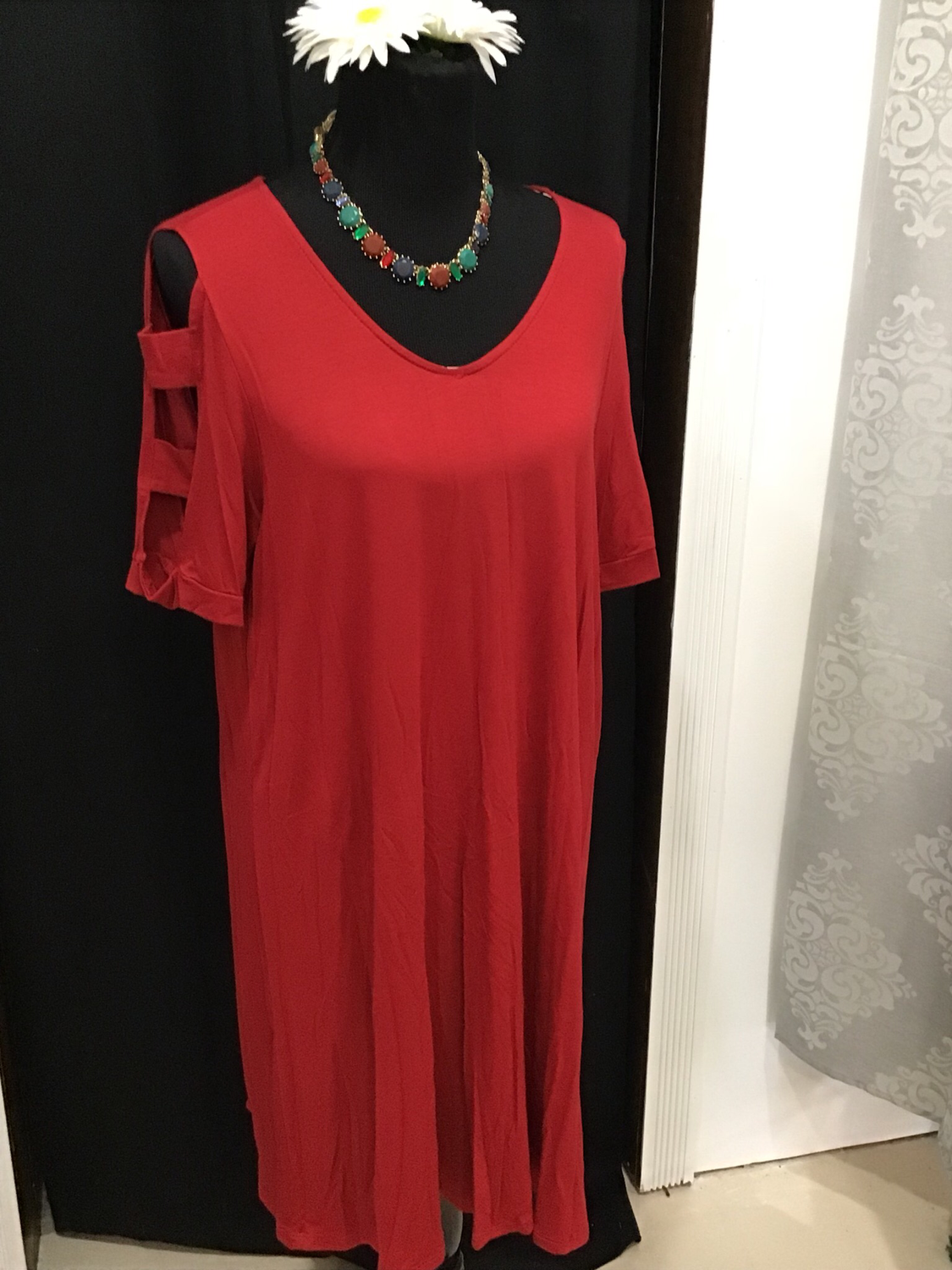 Red swing dress with arm cutouts