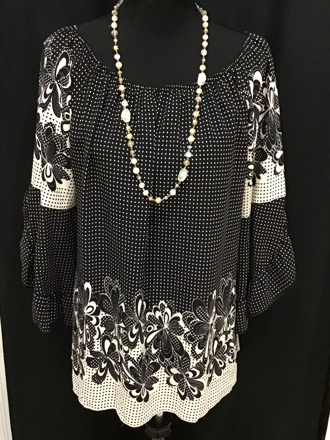 Black Plus Top with Polka dots