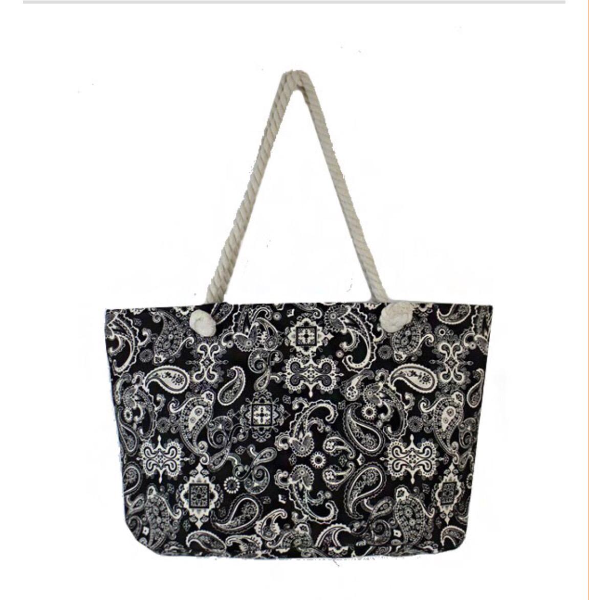 Black and White Paisley Print bag