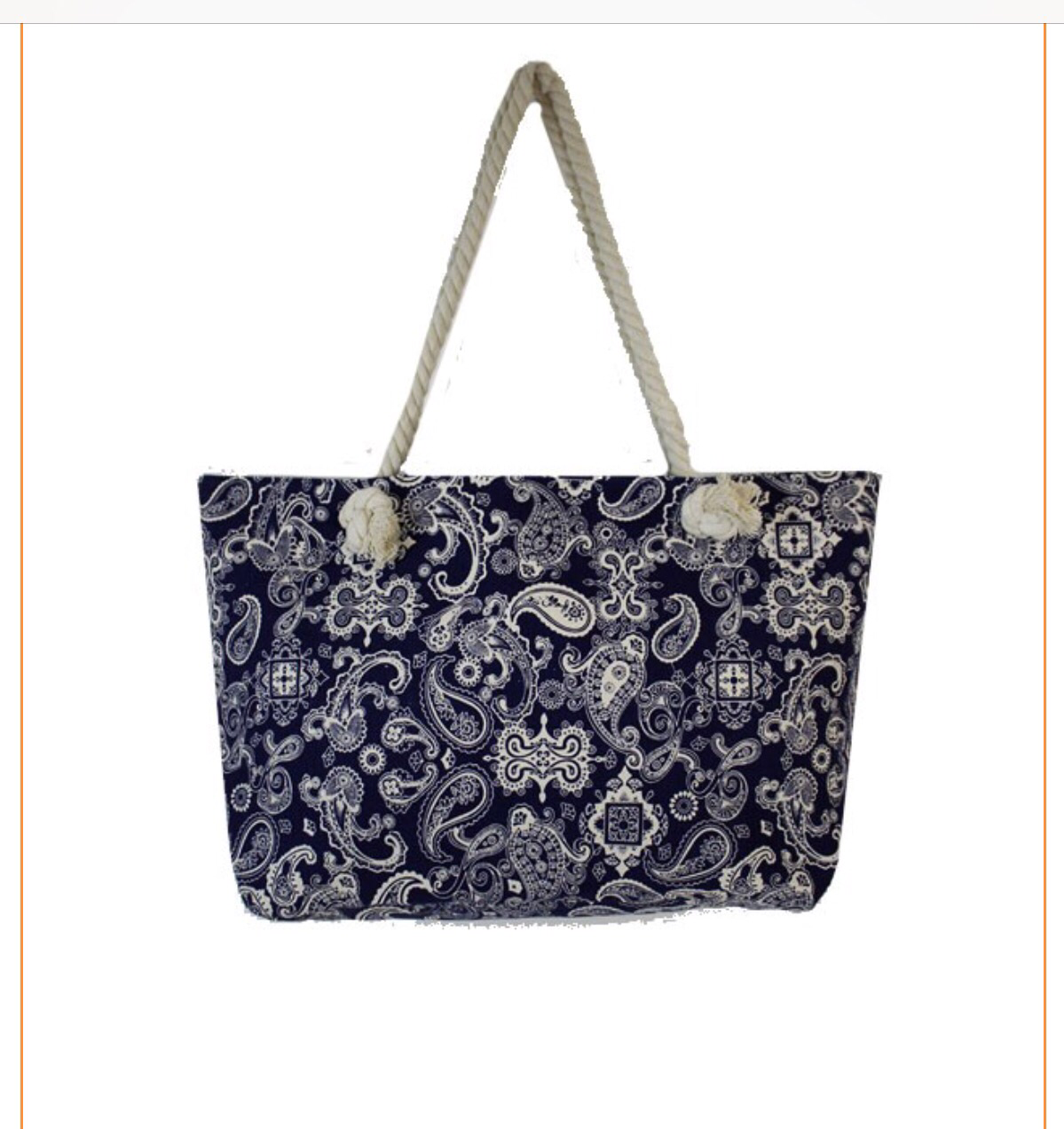 Navy and a White Paisley bag
