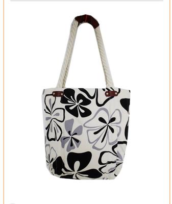 Black and white flower Bag