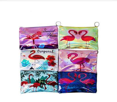 Asst. zippered flamingo coin purse