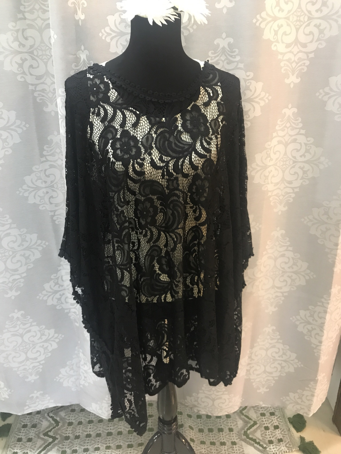 Black lace poncho plus size