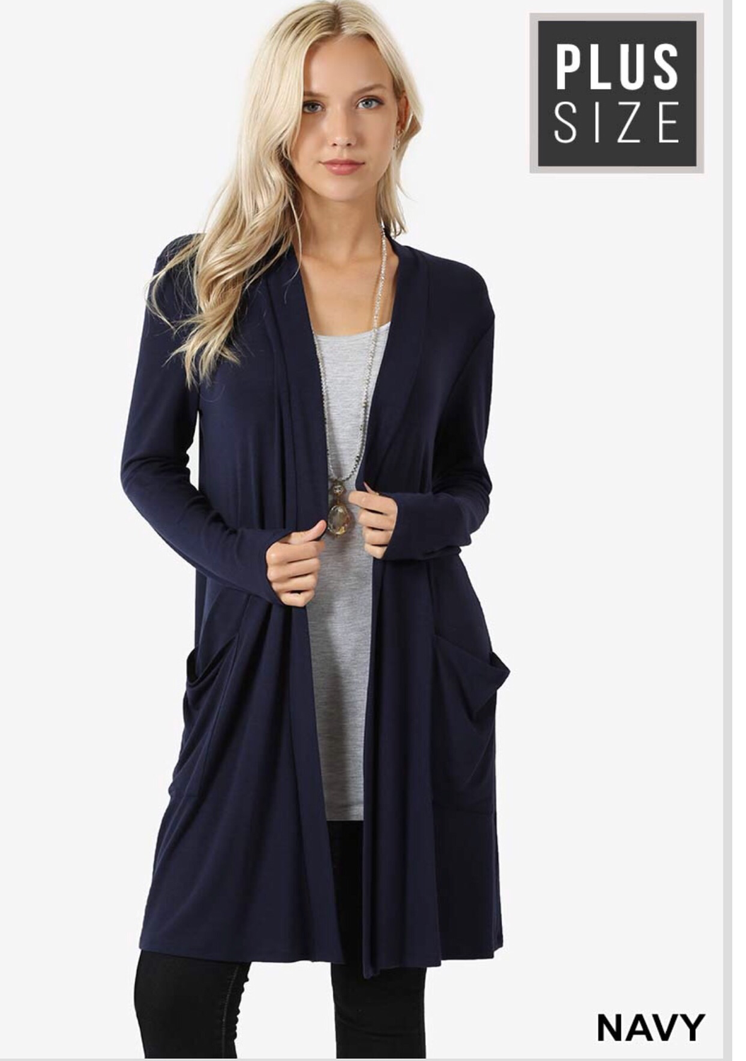Plus premium fabric slouchy pocket cardigan navy