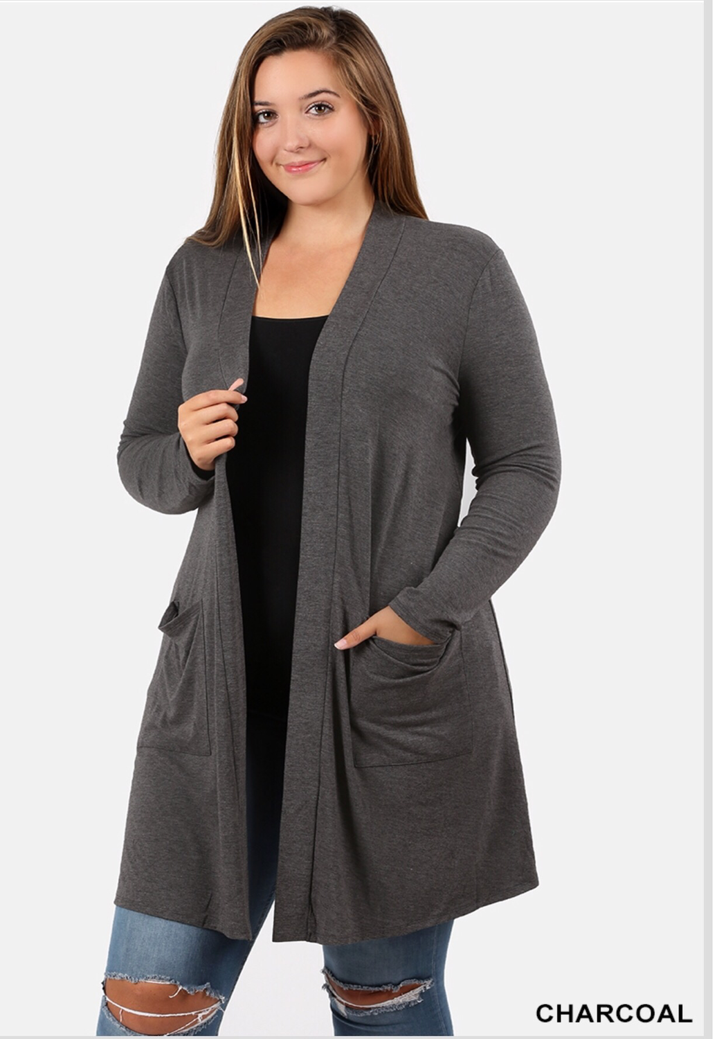 Plus size premium slouchy pocket cardigan charcoal