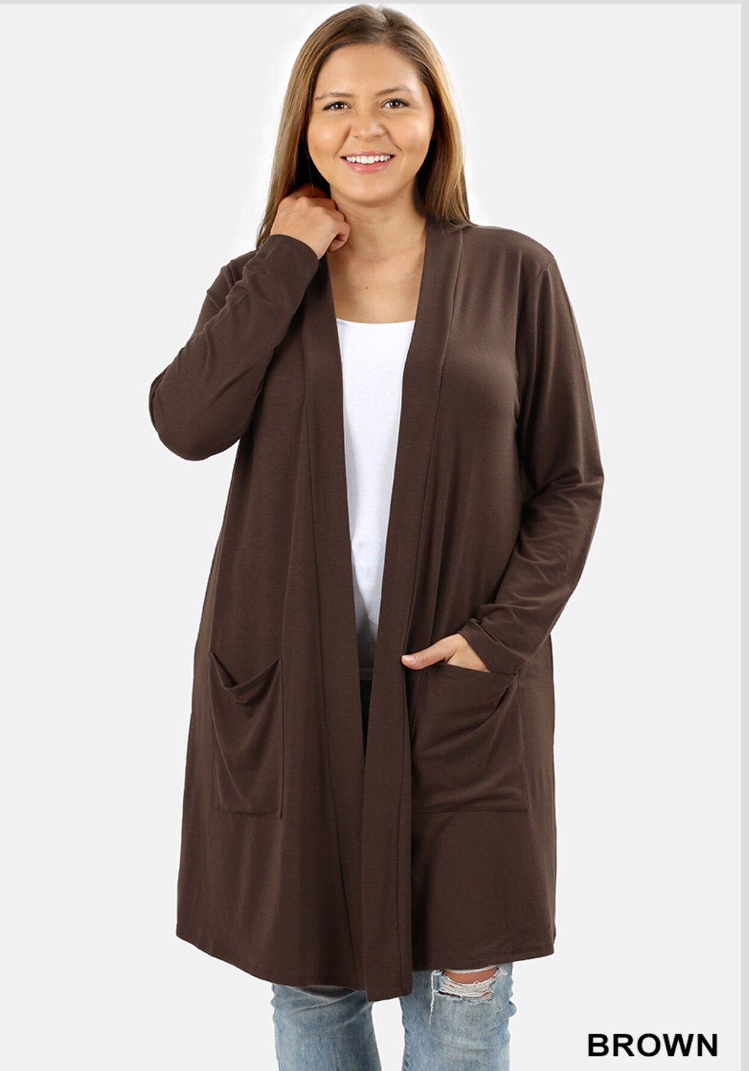 Plus premium slouchy pocket cardigan brown